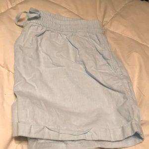 100% linen baby blue shorts, Large